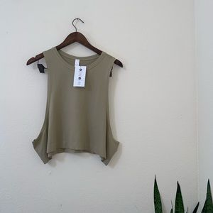 NWT By avocado olive green crop muscle tank